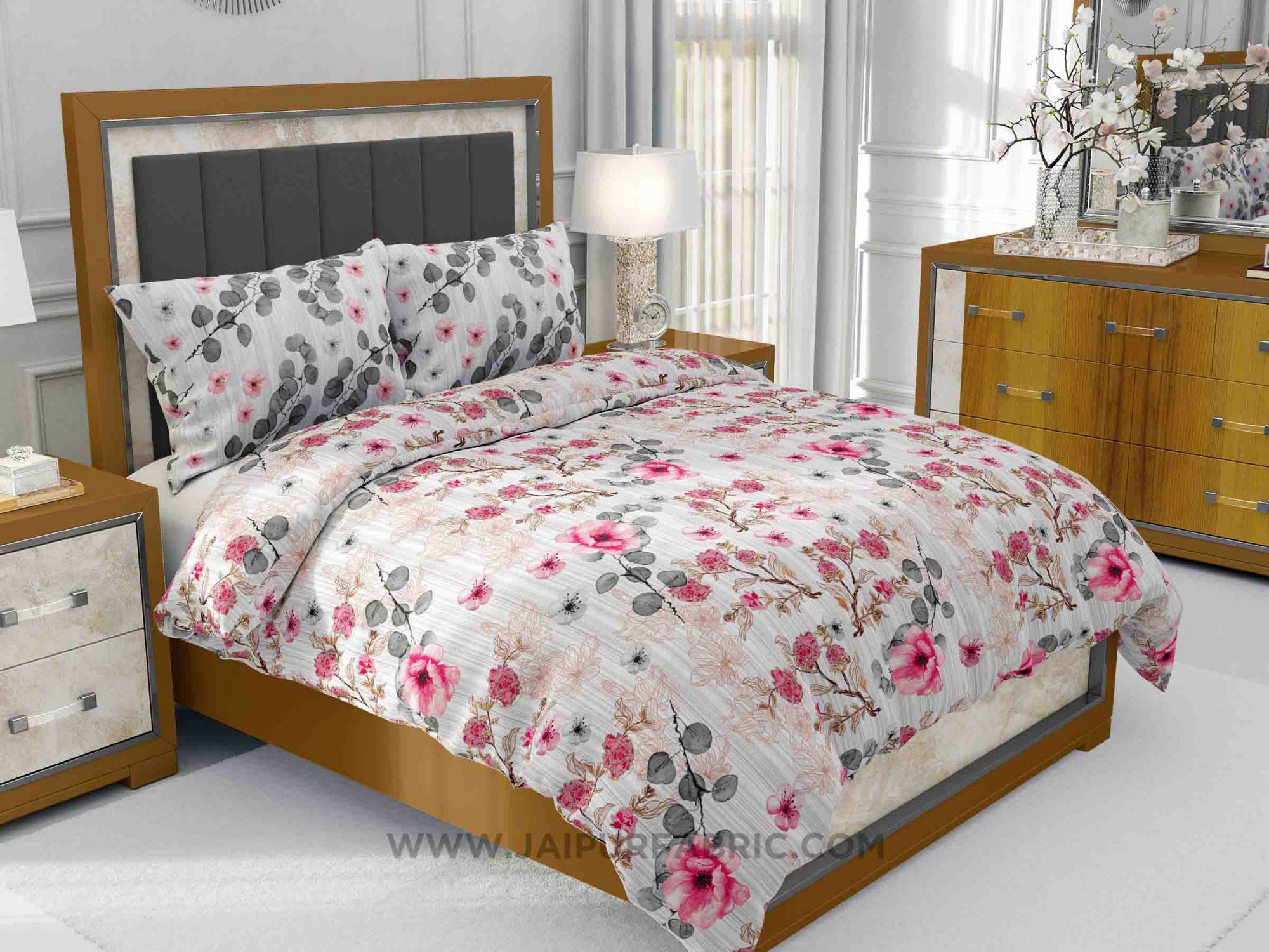 Refreshing Pink Flowers King Size Bedsheet