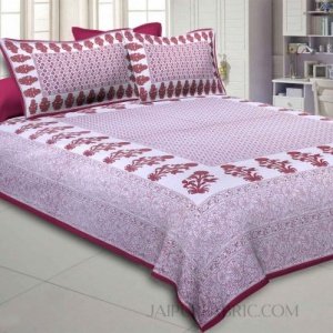 Maroon Border Floral Print Cotton Satin King Size Bedsheet