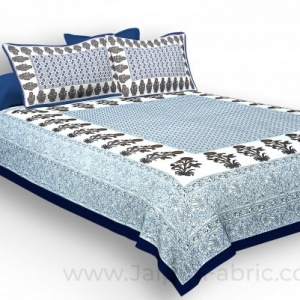 Navy Blue Border Floral Print Cotoon Satin King Size Double  Bedsheet