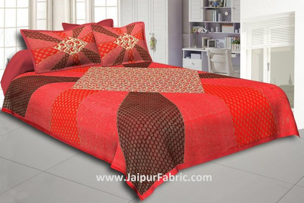 Orange Border Ranbow Pattern  With Golden Print Super Fine Cotton King Size Double Bedsheet
