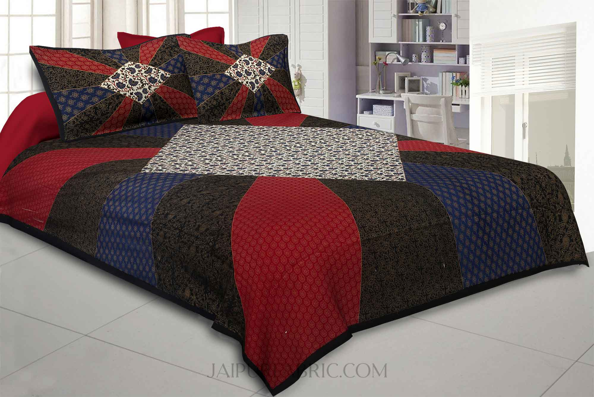 Black Border Rainbow Pattern  With Golden Print Super Fine Cotton King Size Bedsheet