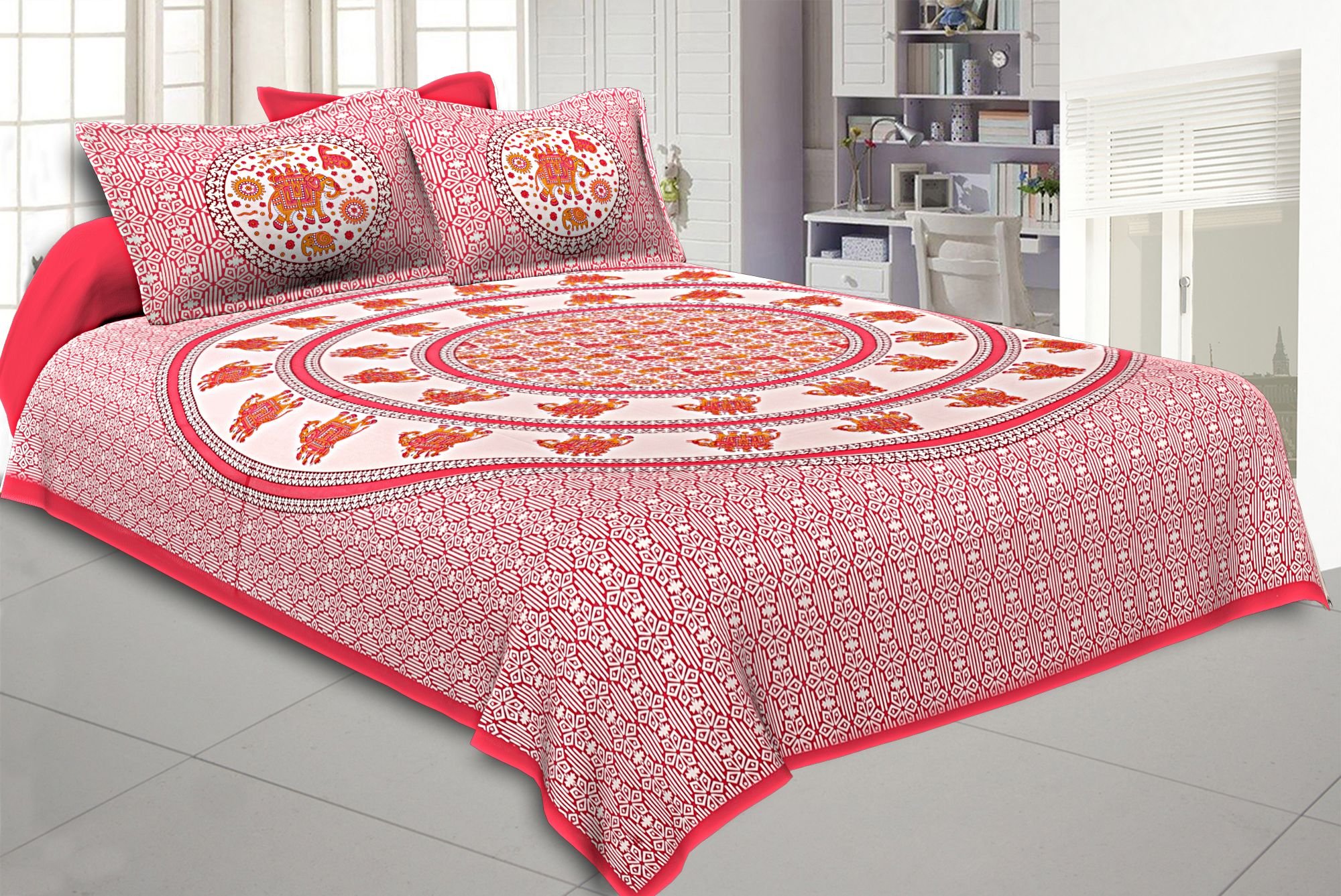 King Size Bedsheet Pink Border Circle Elephant Pattern Screen Print With Two Pillow Cover