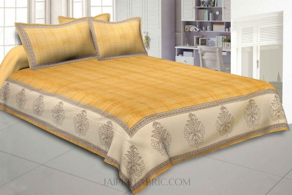 Yellow Lining Cotton Satin King Size Bedsheet