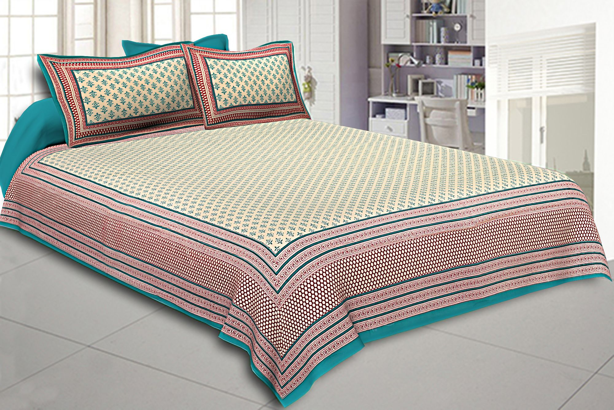 King Size Double Bedsheet Block Print Sea Green Border  Fine Cotton Design