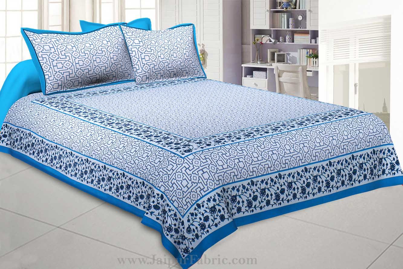 Blue Grey Magical Geometry King Size Double Bedsheet