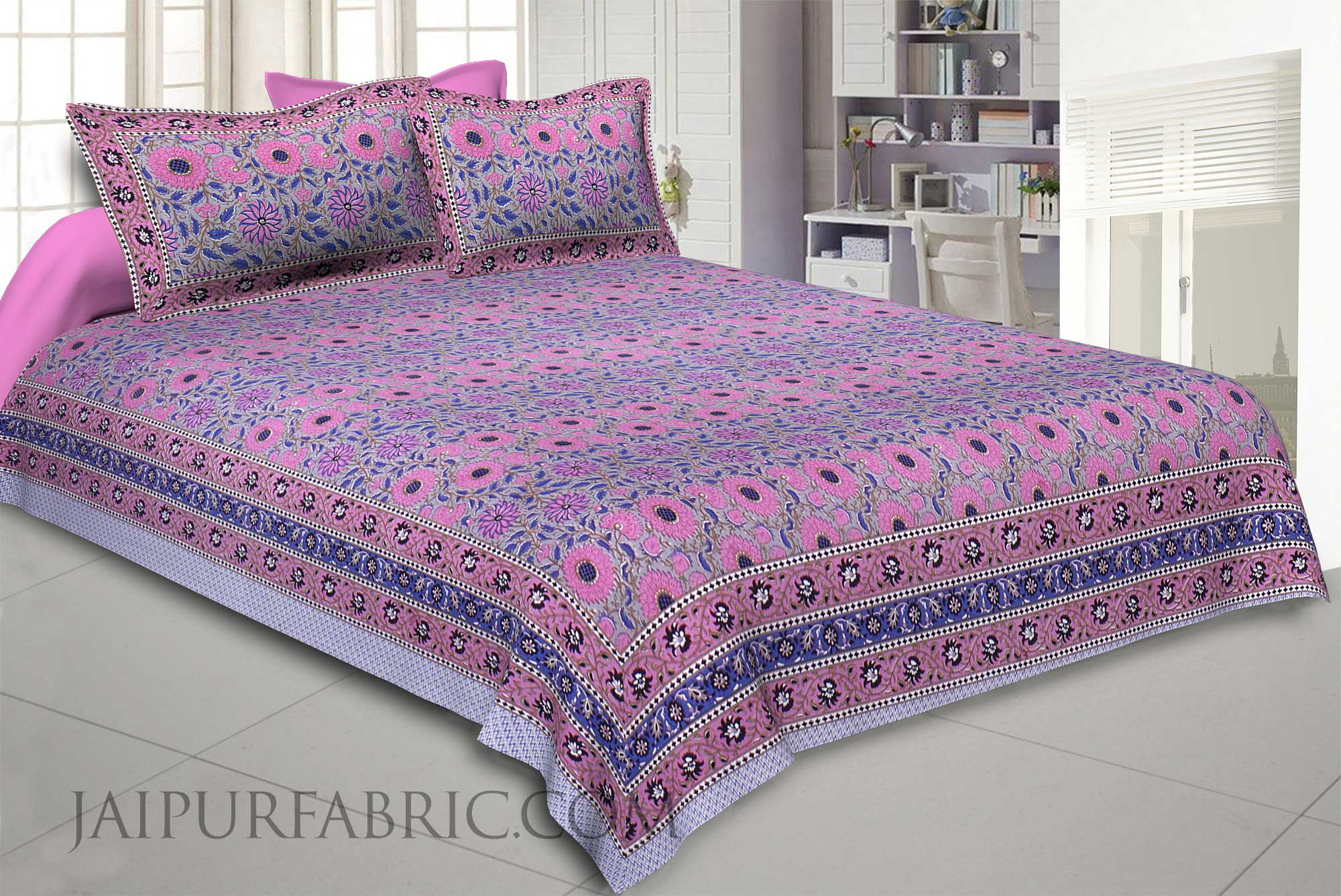 Grey Blooming Festivity Double Bedsheet