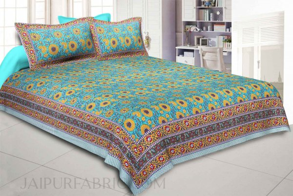 Green Blooming Festivity Double Bedsheet