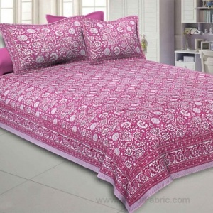 Pink Color Floral King Size Bedsheet