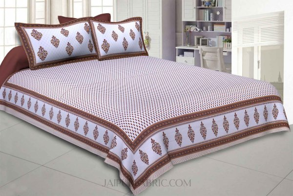 Little Block Prints Brown Double Bedsheet