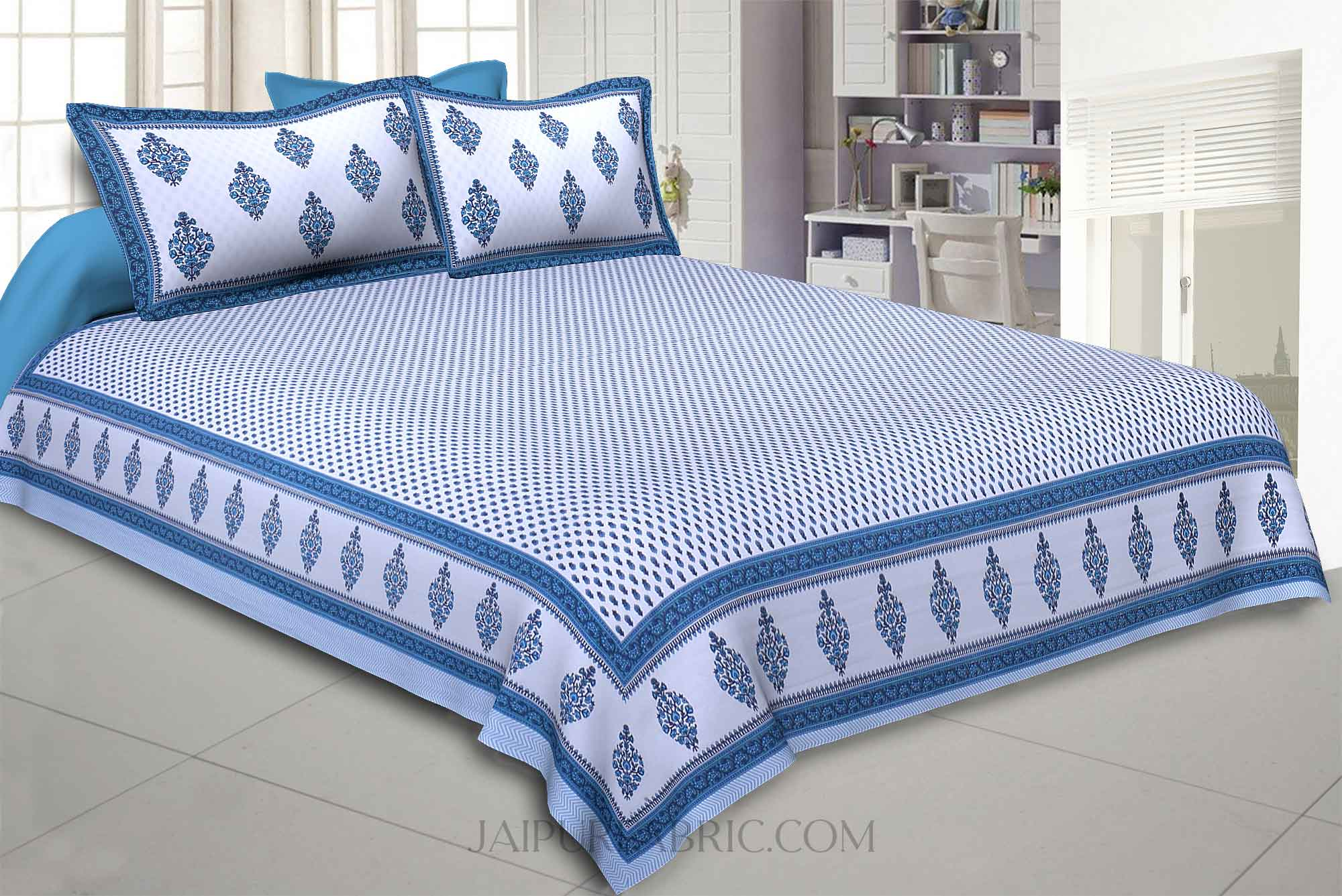 Little Block Prints Blue Double Bedsheet