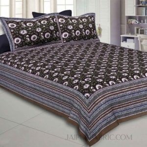 Shubh Utsav Brown Double BedSheet