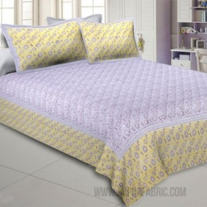 Blossoming Flowers Yellow Grey King Size Bedsheet