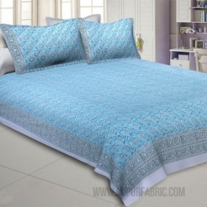 Blossoming Flowers Blue Grey King Size Bedsheet
