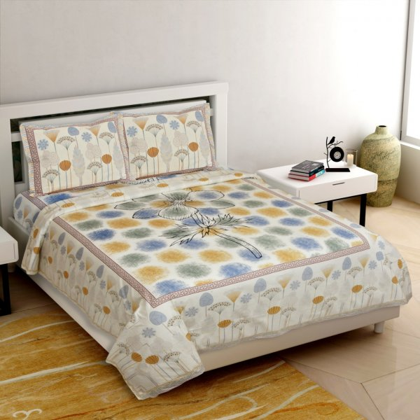 Colossal Flower Blue Yellow King Size Bedsheet