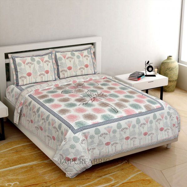 Colossal Flower Pink Brown King Size Bedsheet