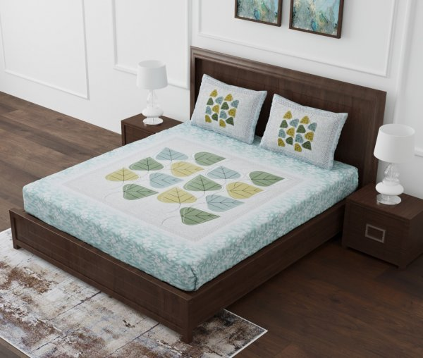 Betel Leaves Brown King Size Bedsheet