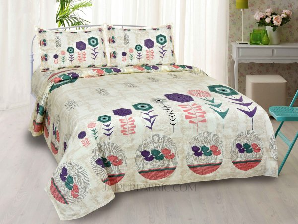 Flower Basket Peach King Size Bedsheet