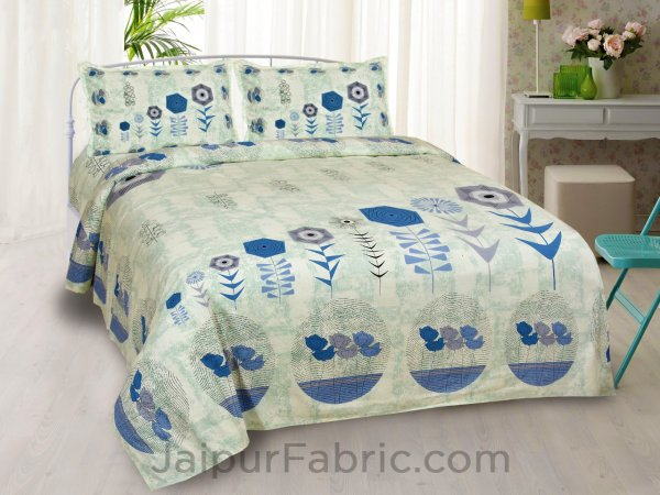 Flower Basket Blue King Size Bedsheet