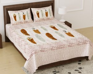 Feathers Of Harmony Peach King Size Bedsheet