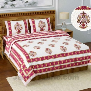 Jaipuri Ethnic Cotton Pink King Size Double bedsheet