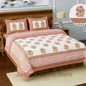 Jaipuri Ethnic Cotton White Pink King Size Double bedsheet