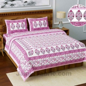 Jaipuri Ethnic Cotton Pink Floral King Size Double bedsheet