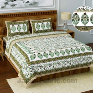 Jaipuri Ethnic Cotton Green Floral King Size Double bedsheet