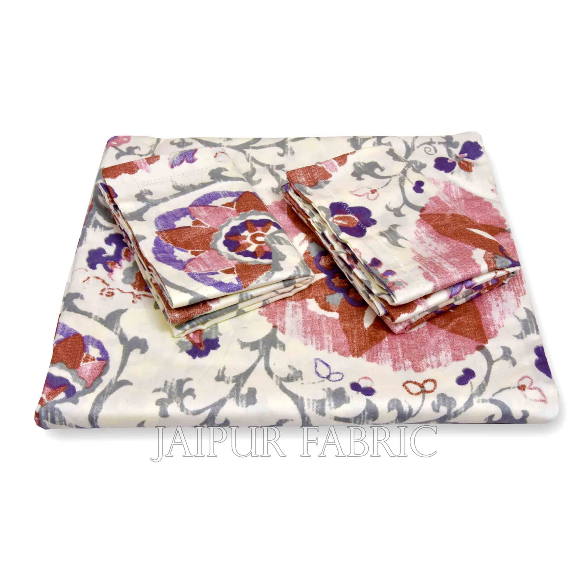 Pink Daffodil King Size Double BedSheet