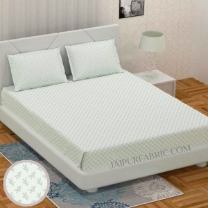 Fresh Leaflets Off White King Size Bedsheet
