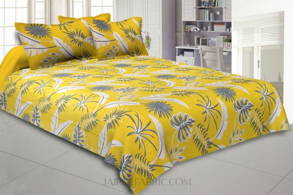 Lemon Yellow Foliage King Size Bedsheet