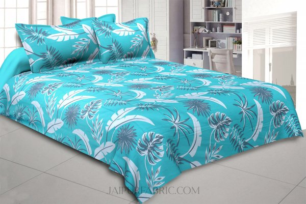 Sky Blue Foliage King Size Bedsheet