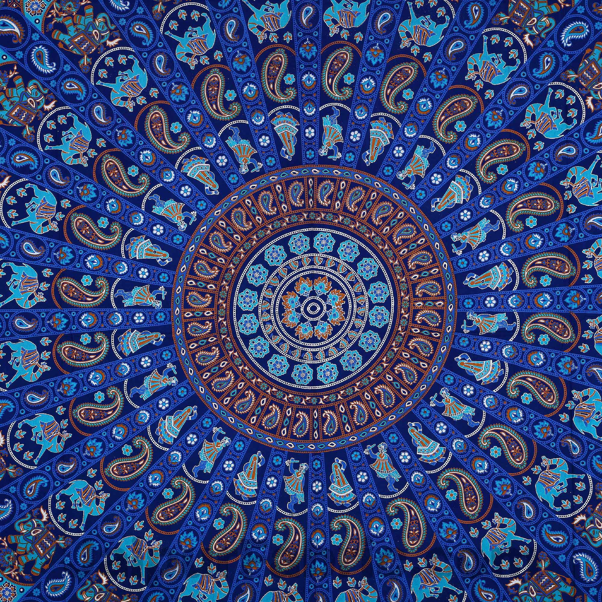Pure Cotton Blue Mandala Traditional King Size Double Bedsheet with 2 Pillow Cover