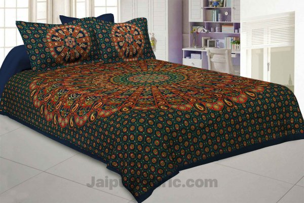 Pure Cotton Green Mandala Traditional King Size Double Bedsheet with 2 Pillow Cover