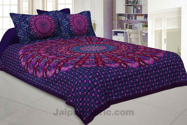 Pure Cotton Purple Mandala Traditional King Size Double Bedsheet with 2 Pillow Cover