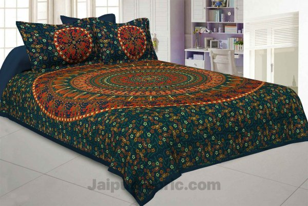 Pure Cotton Green Mandala Traditional Animal Print King Size Double Bedsheet with 2 Pillow Cover