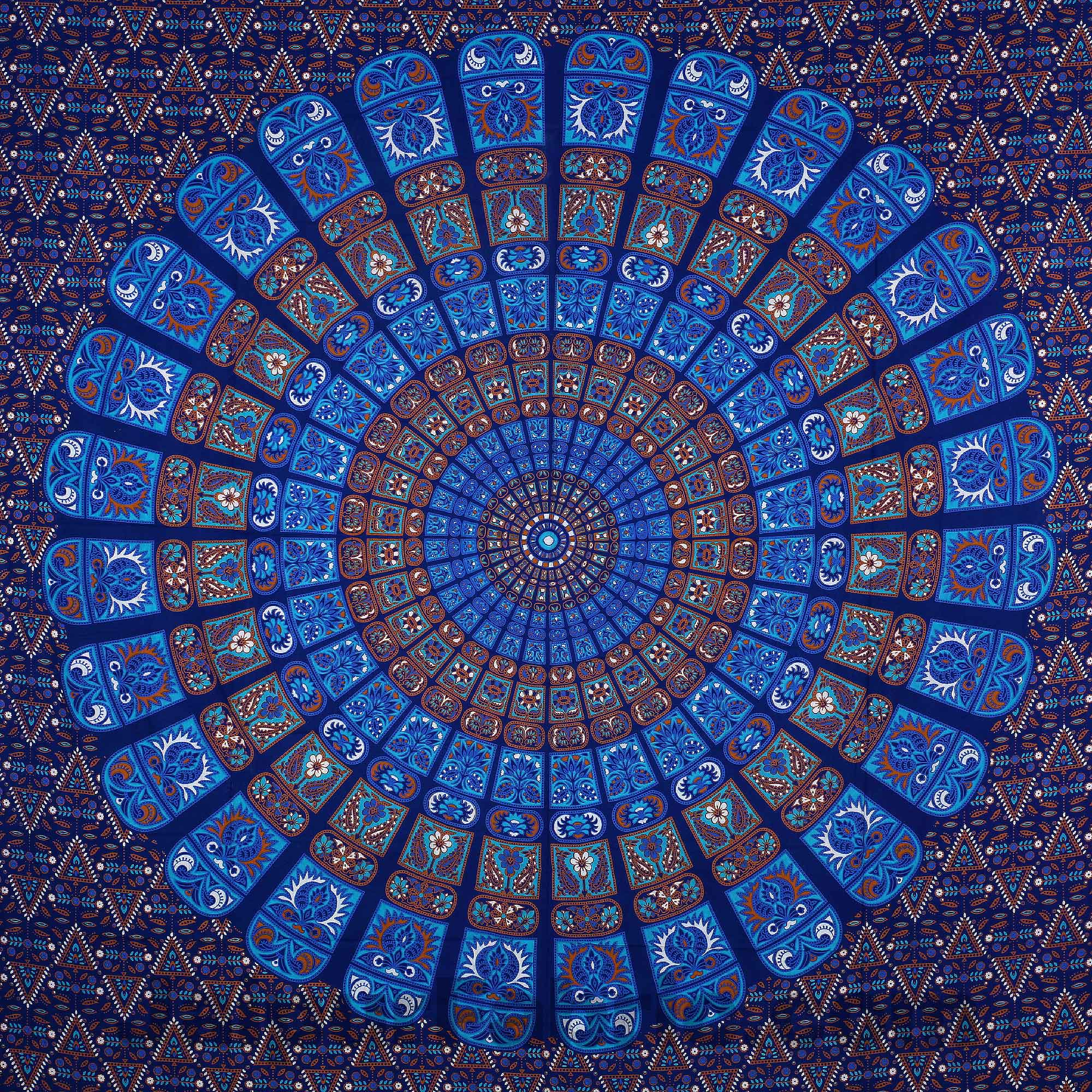 Pure Cotton Blue Mandala Zig Zag Print King Size Double Bedsheet With 2 Pillow Covers