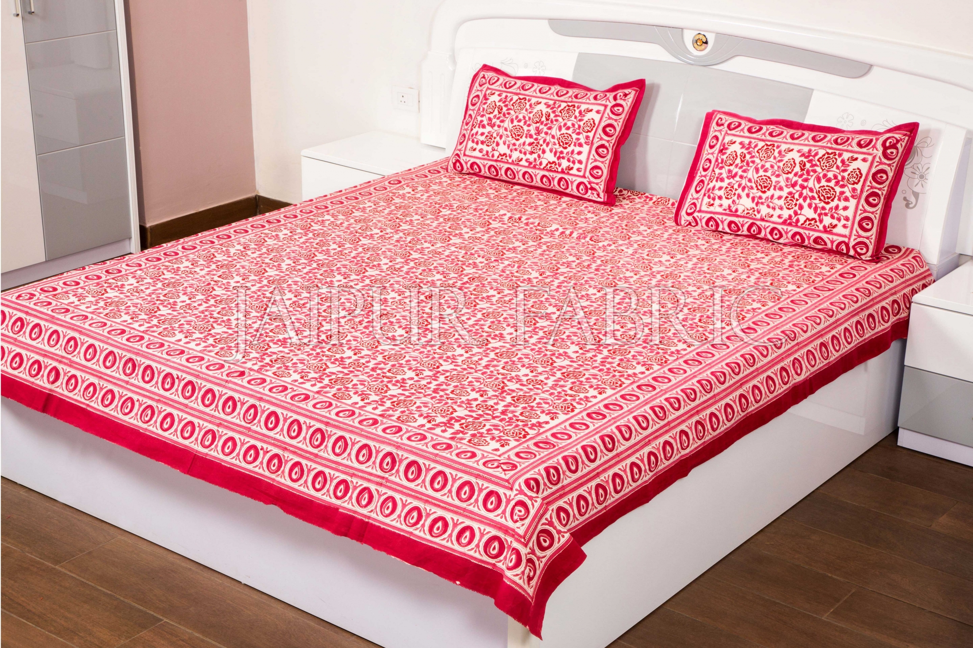 Magenta Flower Handmade Block Print Double Bed Sheet with Two Pillow Covers