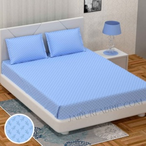 Fresh Leaflets Blue King Size Bedsheet