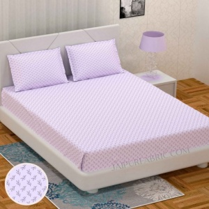 Fresh Leaflets Purple King Size Bedsheet
