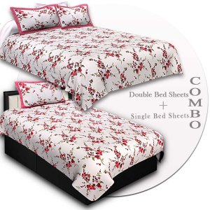 COMBO93- Set of 1 Double Bedsheet and 1 Single Bedsheet With 2+2