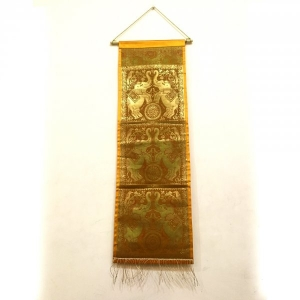 Traditional Brocade Work Elephant & Bird Design Silk Wall Hanging in Orange