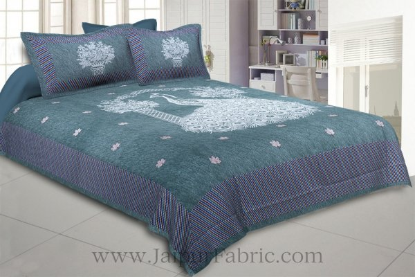 National Pride Sea Green Giza Cotton Double BedSheet