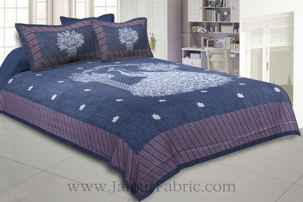 National Pride Thunder Blue Giza Cotton Double BedSheet