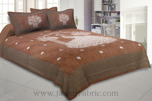 National Pride Earth Brown Giza Cotton Double BedSheet