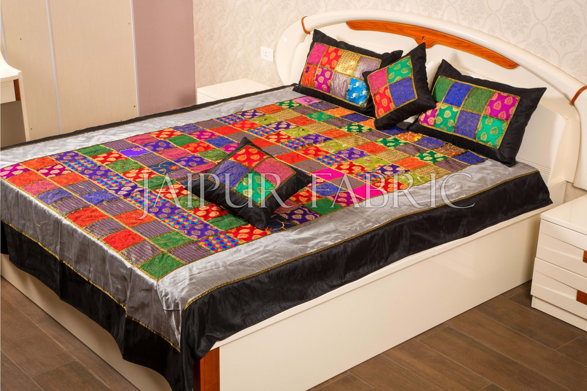 Rajasthan Patchwork Gold Print Double Bed Sheet with Two Pillow Covers and Two Cushion Covers