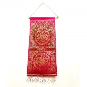 Traditional Brocade Work Rangoli Pattern Design Silk Wall Hanging in Pink