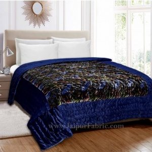 Velvet Cloth Double Bed Quilt Jaipuri Razai blue Shaneel Rajai by Jaipur Fabric