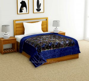 Velvet Cloth Single Bed Quilt Jaipuri Razai Blue Shaneel Rajai by Jaipur Fabric