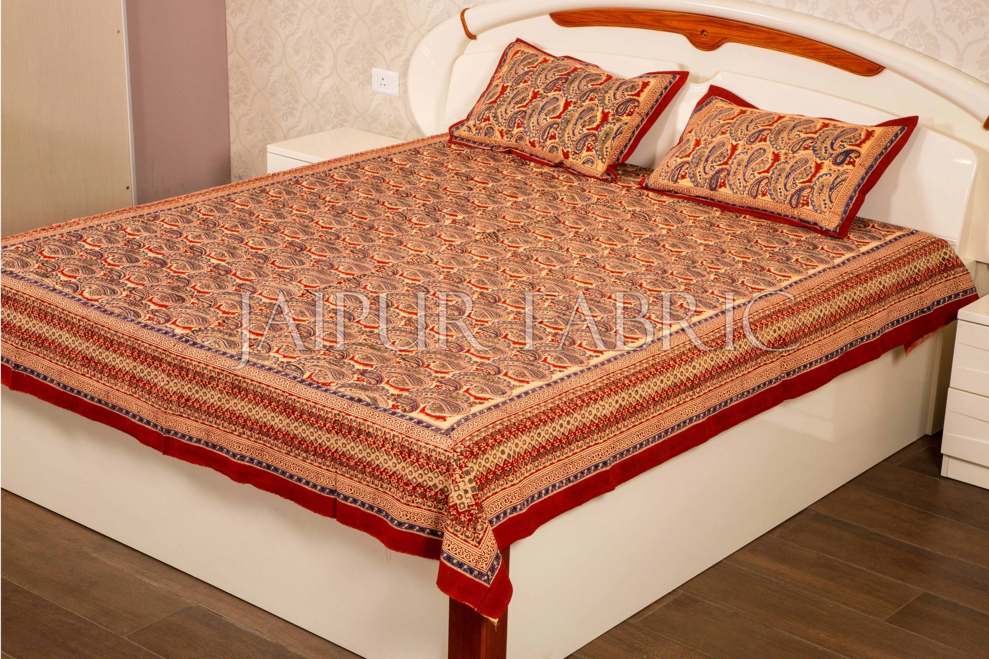 Red Border Brick Color Hand Block Print Double Bed Sheet with Two Pillow Covers