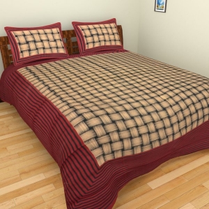 Maroon Border With Lining Check Pattern Cotton Double Bed Sheet